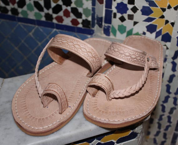 3c4f76937443 Moroccan leather Sandals Handmade Leather Sandals Beige