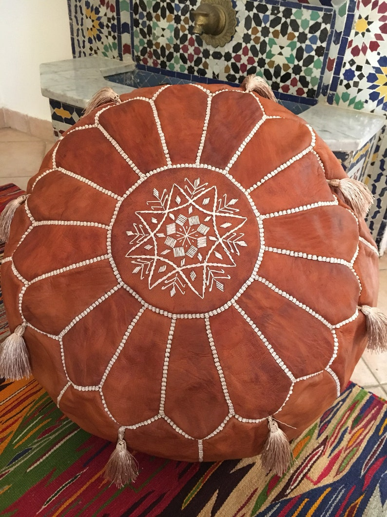Brown Leather Pouf With Tassels Natural Leather Pouf