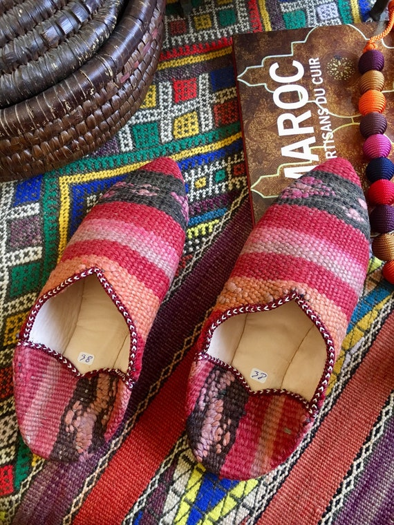 Moroccan Beige Brown Kilim Leather Babouche Women Mule Slipper Model 2019 Toop