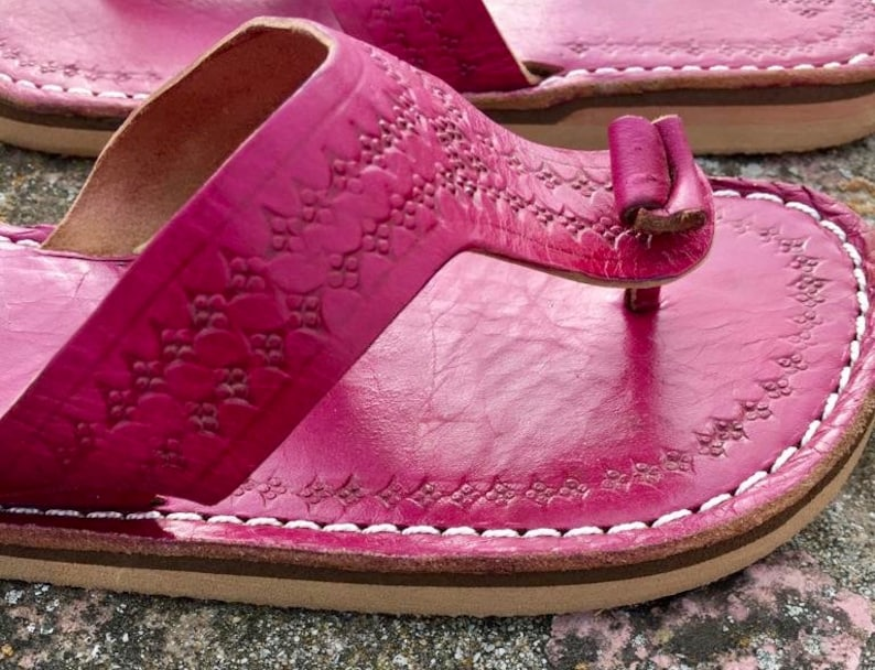 3ca5524d68613 Moroccan Pink leather Thong Sandals, Handmade Leather Flip Flop Sandals,  Fuchsia Leather Sandals, Women Leather Sandals, Thong Sandals