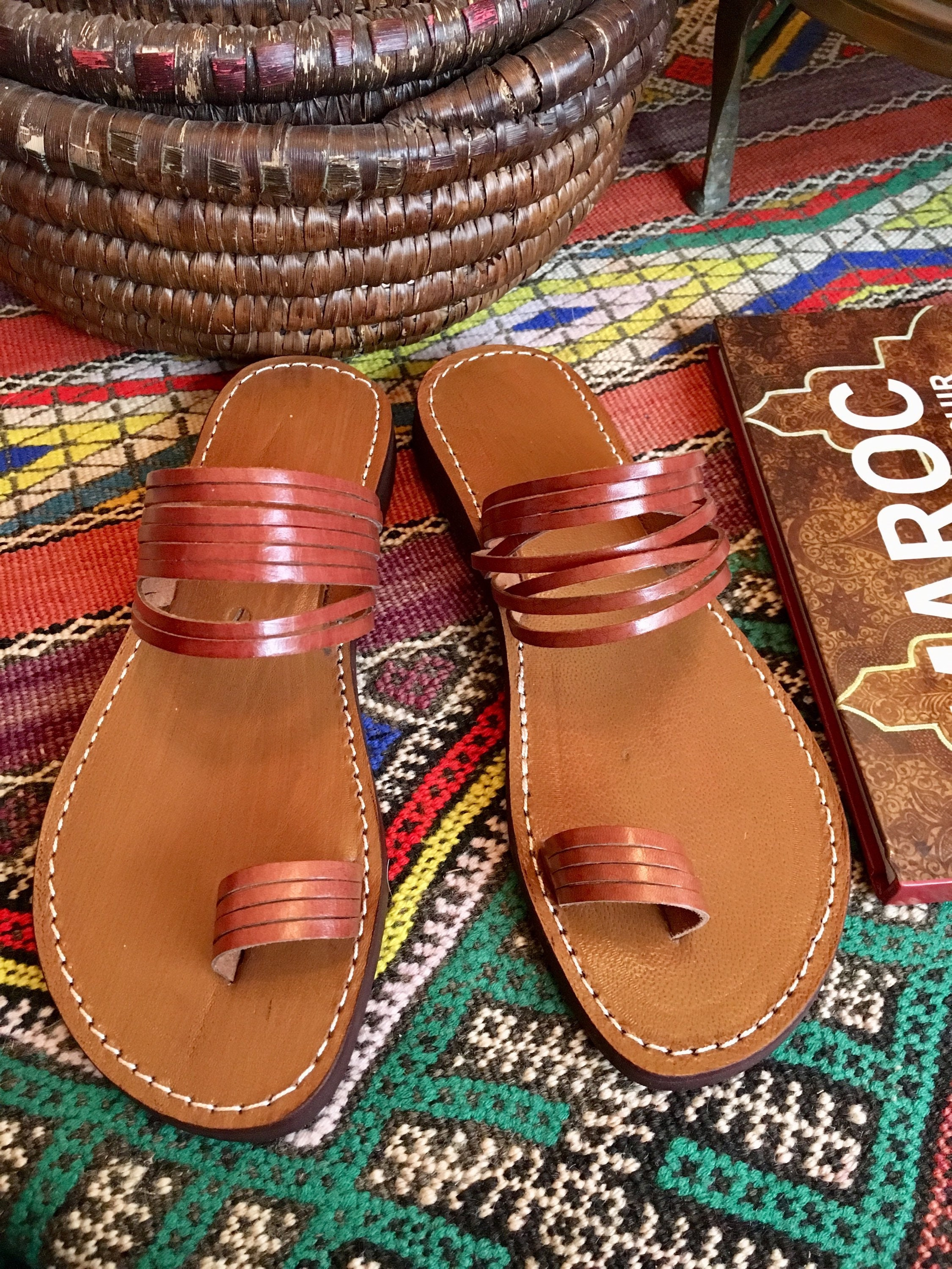 36a5087d7383 Moroccan Handmade Brown Leather Thong Sandals Handmade Leather Flip Flop