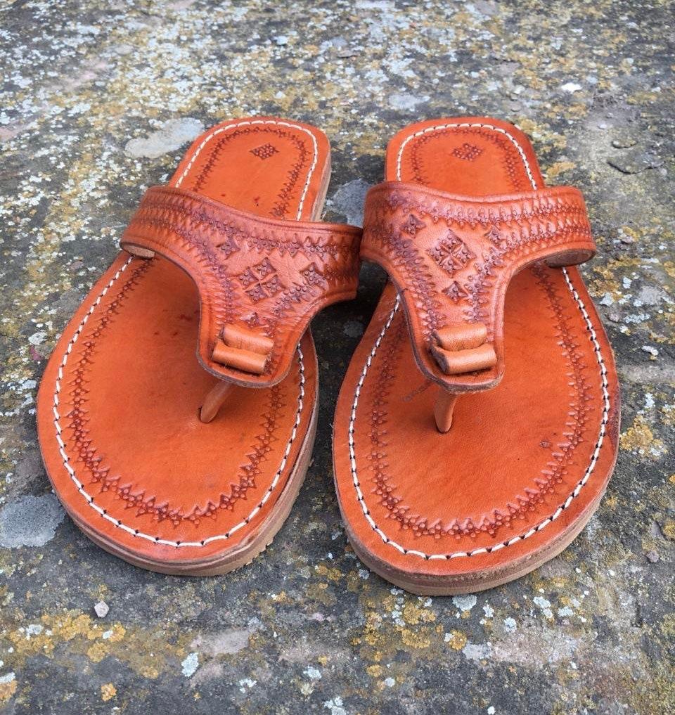 79ff82c7bdcda Moroccan leather Thong Sandals, Handmade Leather Flip Flop Sandals ...