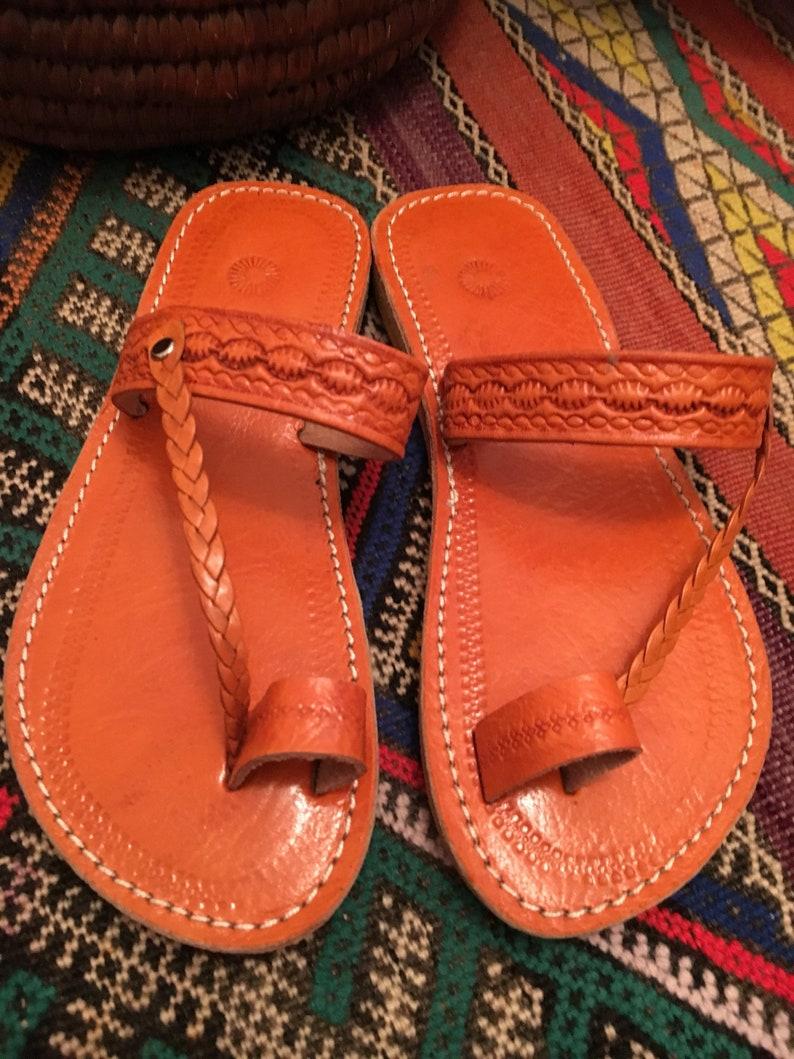 4405ce5e43ea4 Moroccan leather Sandals, Handmade Leather Sandals, Orange Leather Sandals,  Women Leather Sandals, Braided Leather Thong Sandals