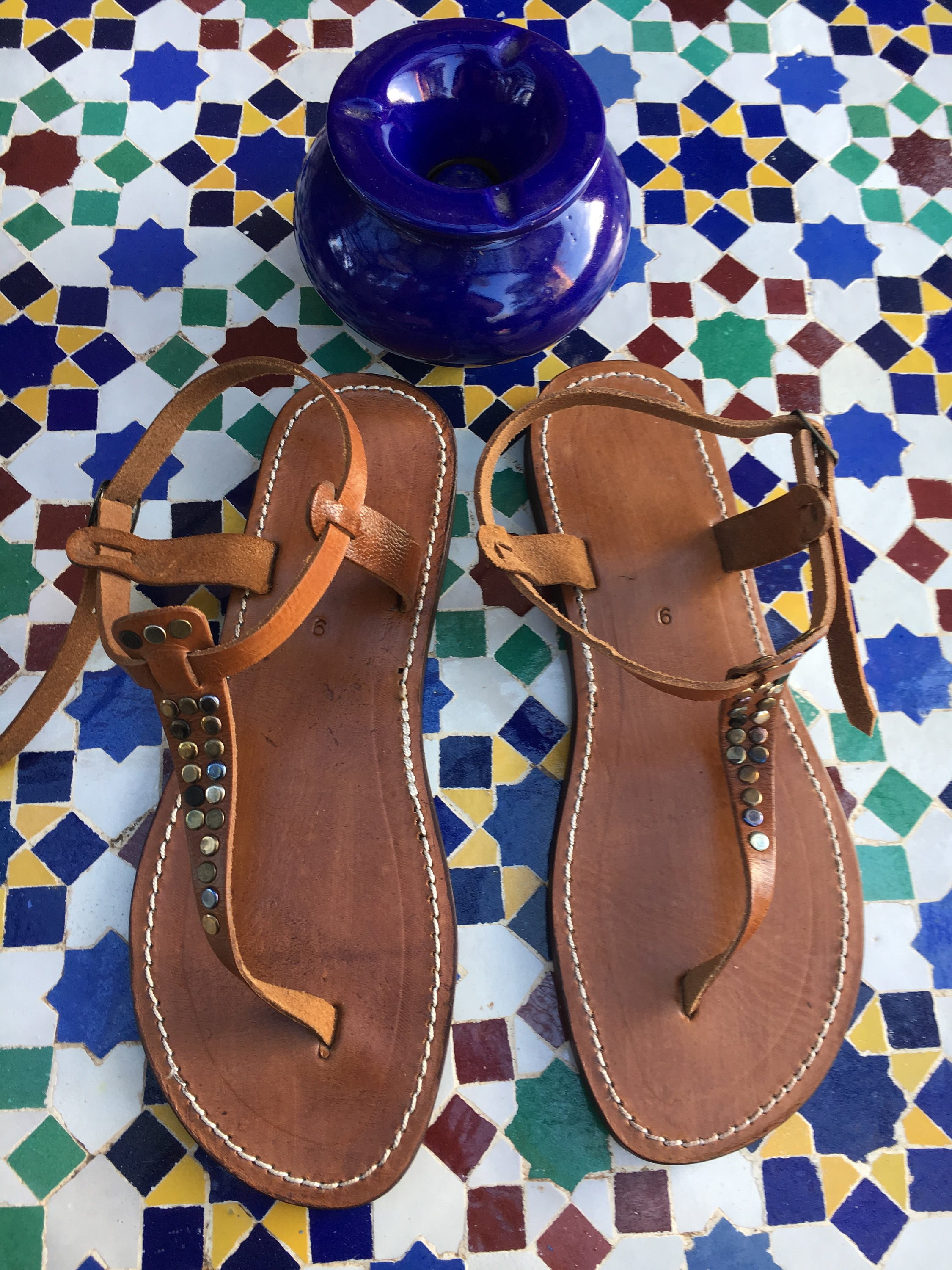 0f1cc1191f2a Brown Leather Studded Thong Sandals