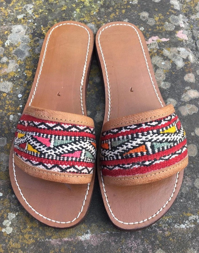 996b0abe4ad41 Multicolored Kilim Leather Slides, Handmade Moroccan leather Sandals, Red  Brown kilim Leather Sandals