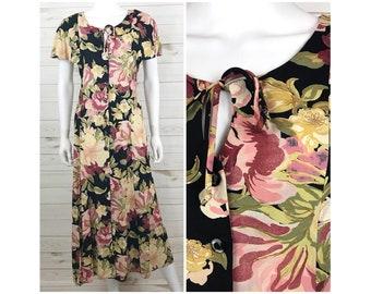 Vintage Maxi Dress 90s - Size M/L - Floral Long Grunge Romantic Flutter Sleeve Button Front Keyhole Boho