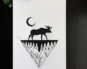 Forest Moose Tattoo Etsy