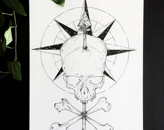 Compass Skull : original drawing art skull compass