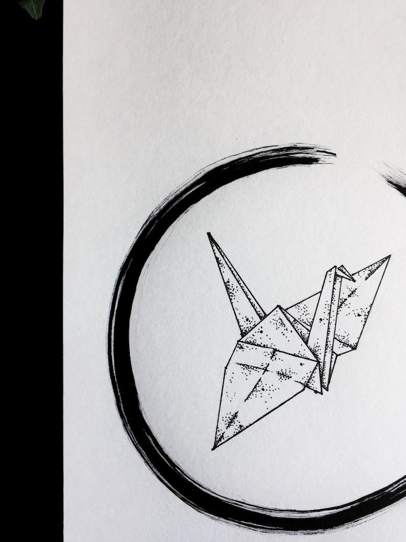 Paper Crane Original Drawing Art Origami Animal Etsy