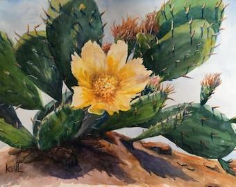Desert Flower Painting, Solitary Flower, Prickly Pear Cactus, Watercolor Wall Art - Print or Original