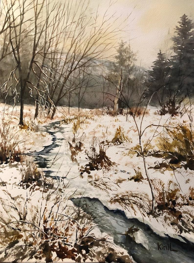 Winter Woods Snowy Creek Watercolor Landscape Wall Art image 0
