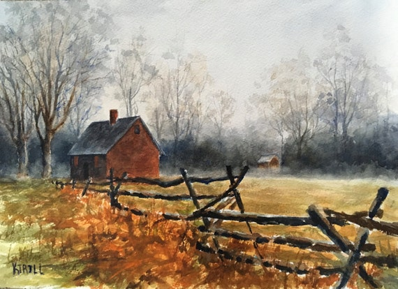 Old Farm House Painting Wick House Revolutionary War Etsy