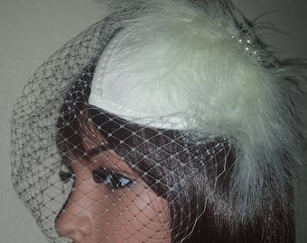 """Ivory birdcage veil 9"""" Juliet cap with diamante rhinestone and pearl feathers embelishments. FREE UK POSTAGE"""