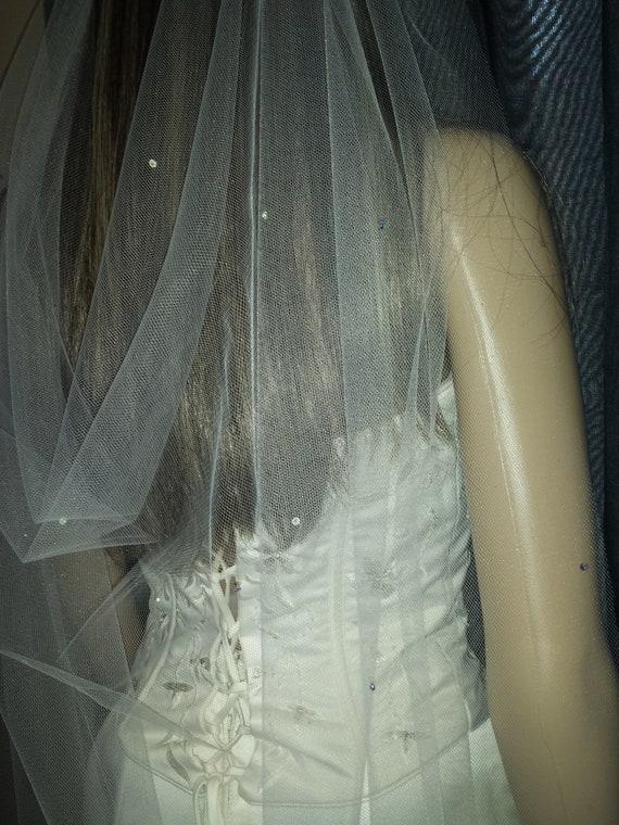 "Ivory wedding veil 72/"" or 108/"" width 1T fingertip length 42/"" Pencil edge plain"