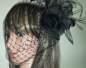 Birdcage  Gothic  veil Black Fascinator with Organza Flower and feather clip.  With or without Veil options. FREE UK POSTAGE