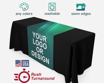 Custom Table Runner with Logo Rush Quick Turnaround for Craft Shows and Vendor Events