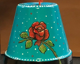 hand painted yarn bowl, project holder terra cota pot yarn barn, fine ceramic yarn holder