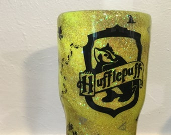 Hufflepuff Glitter tumbler, yellow Glitter Harry Potter inspired cup, personalized travel mug, House tumbler, Hogwarts house cup