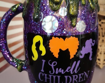 Hocus Pocus, Sanderson sisters epoxied mug, glitter mug, purple potion mug, glitter tumblers, Halloween #D mug, coffee cup