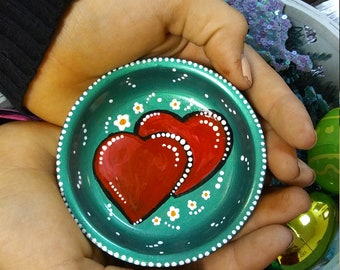 red hearts, 3 inch, Jewelry catche,r ring holder, painted terra cota,knick knack, holder, collectors plate, OOAK