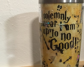 Harry Potter storyboard tumbler,  Marauders Map inspired cup, personalized travel mug, Parchment tumbler, up to no good cup