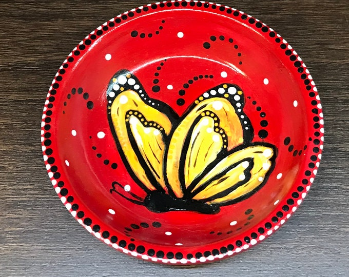 Red Butterfly Hand Painted Jewelry Catcher