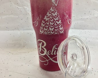 Glitter tumbler, Hot Pink and pale pink ombré, personalized travel mug, 32 oz. princess, Believe, inspirational Cup, Mother's Day gift