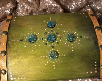 Jewelry box, Wooden jewelry box, Trinket box,  Wooden keepsake box, Treasure chest, mushrooms and unicorns