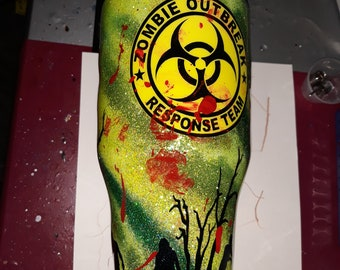 Zombie Glitter tumbler, green, black,yellow multi glitter Or paint tumbler, personalized, 40, 30, 20oz., zombie apocalypse, toxic, blood