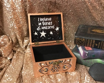 Jewelry box, Wooden jewelry box, Trinket box,  Wooden keepsake box, Mandala clad box