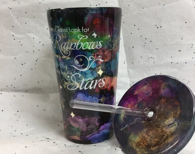 Galaxy glitter and ink tumbler, rainbow glitter, universe travel mug, inspirational quote, stars and rainbows, inspiring tumbler.