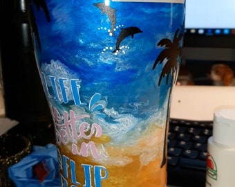 Beach tumbler, Glittered beach cup, Epoxied tumbler, cup, travel drink ware, beach scene, sand and sea,  flip flops