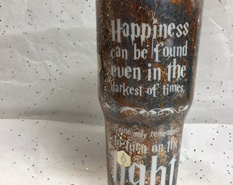 Glitter tumbler, bronzey/pewter and gold multi glitter tumbler, personalized travel mug, 32 oz. inspirational Harry Potter Dumbledore quote