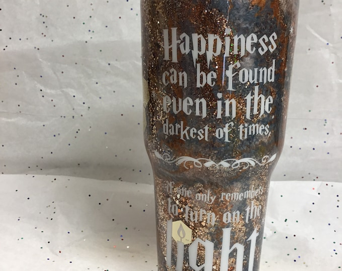 Glitter tumbler, bronzey/pewter and gold multi glitter tumbler, personalized travel mug, 30 oz. inspirational Harry Potter Dumbledore quote