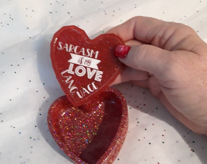 Epoxy Resin heart shapped trinket box, raspberry  glossy glitter, cute quote or personalized saying on the inner lid