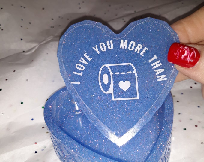 Epoxy Resin heart shapped trinket box, blue glossy glitter, cute quote or personalized saying on the inner lid, 2020 toilet paper crisis