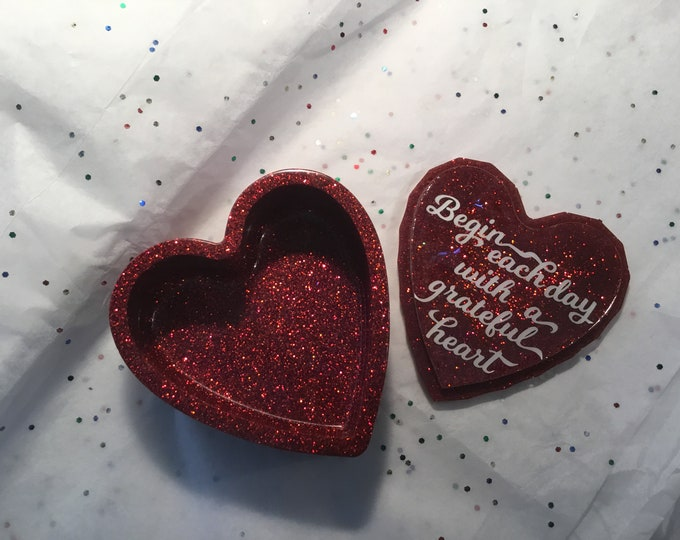 Epoxy Resin heart shapped trinket box, red glossy glitter, cute quote or personalized saying on the inner lid,