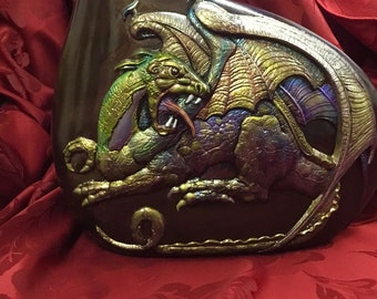 exquisite fine ceramic dragon vase, decorative Halloween themed, metallic pearlized acrylic