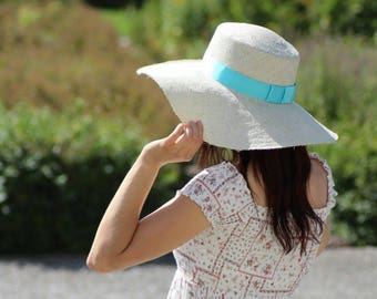 Straw hat Nature-Turquoise