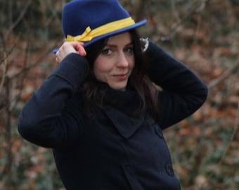 Felt hat Blue-yellow