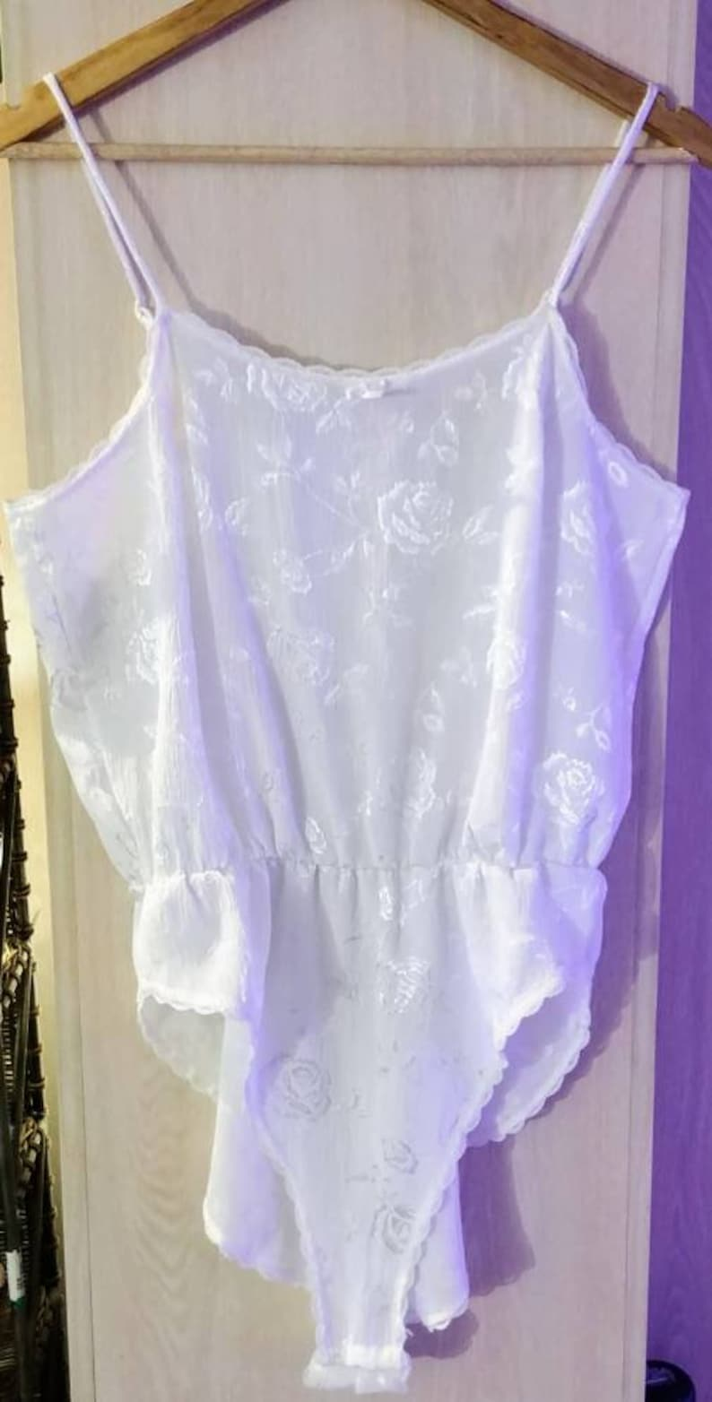 Vintage White Floral Bodysuit from Pink Lady Size Large white lingerie