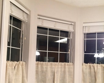 White Burlap Cafe Curtains,kitchen Curtains Livingroom Curtains,bedroom  Curtains