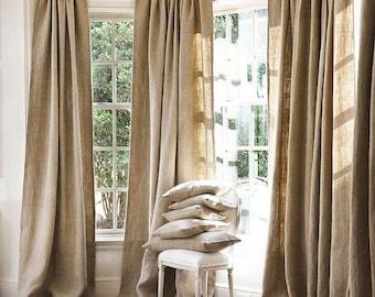 Burlap Curtains, Livingroom Curtains.upscale Burlap Curtains, One Panel