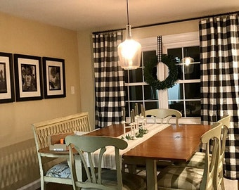 1-pair black buffalo curtains, two panels included
