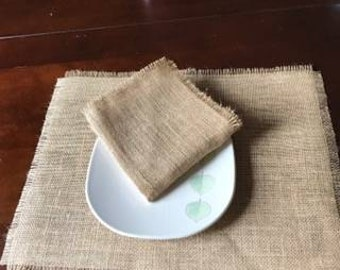 Napkins, set of 4 Burlap napkins,