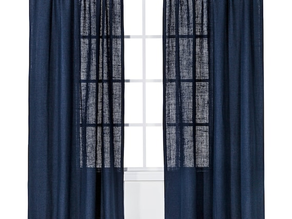 Navy burlap curtains,Nautical navy blue, livingroom curtains,bedroom  curtains,Window treatments