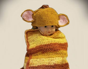 Crocheted Hooded Lion Cub Baby Blanket