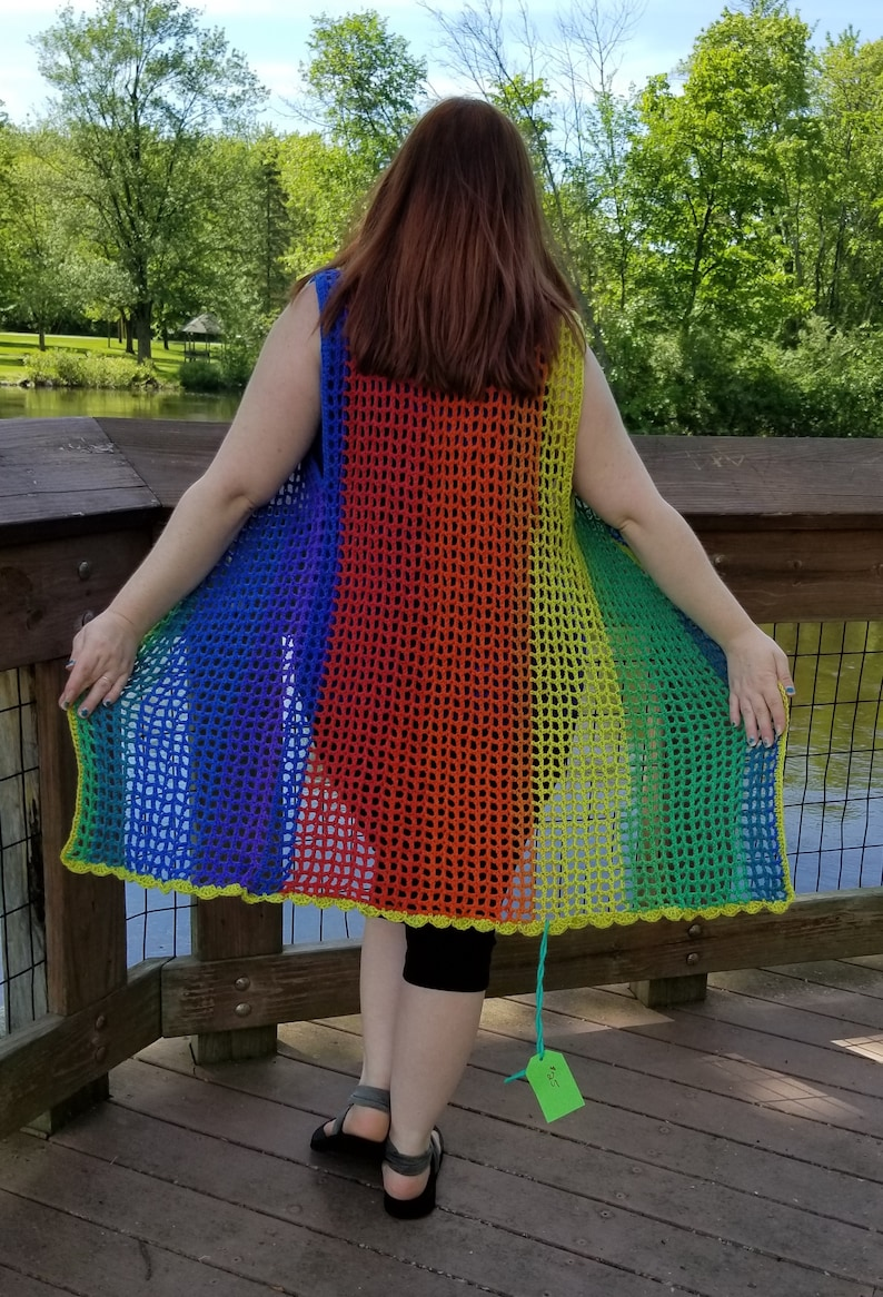 Rainbow Crocheted Long Mesh Duster Vest One Size Small Medium Large XL