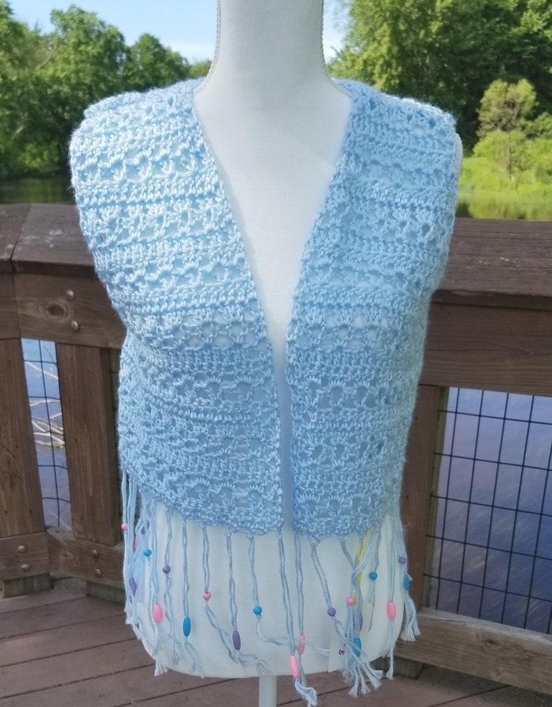 Crocheted Light Blue Short Fringed Wooden Beaded Hippie Festival Vest Sm Med