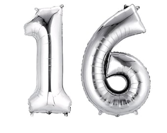 Silver 16 Balloon Sweet 16th Birthday Number Balloons Anniversary Bday